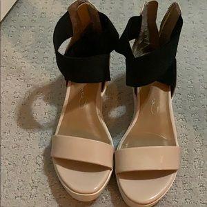 Report signature black & pink sandals